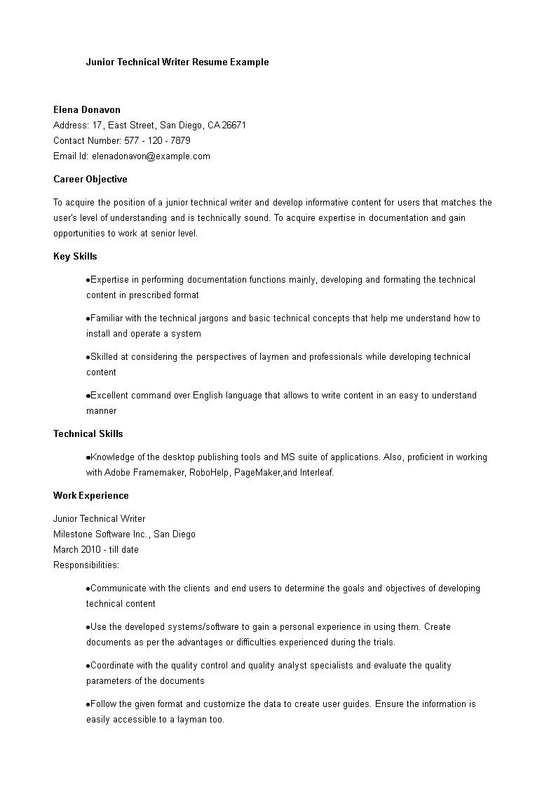 Junior Writer Resume