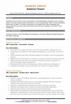 Assistant Cleaner Resume