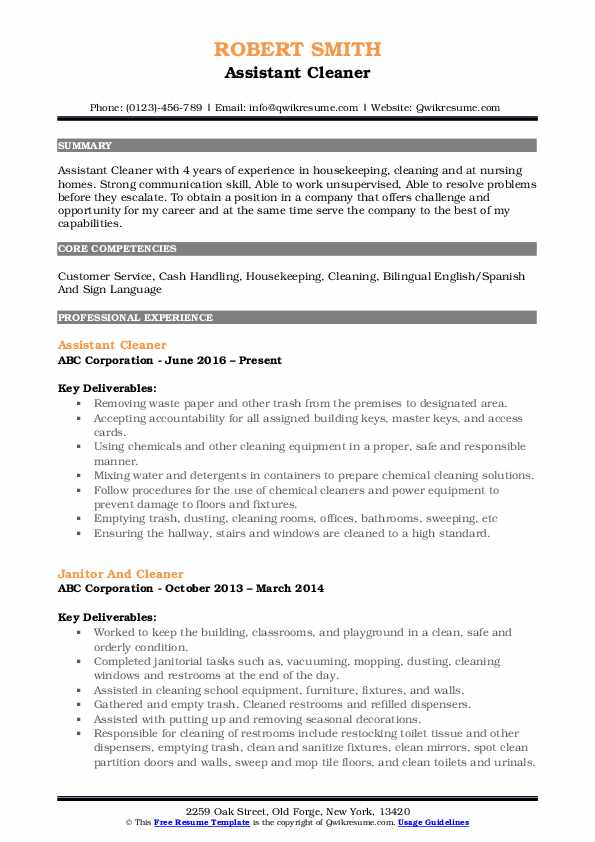 Assistant Cleaner Resume .Docx (Word)