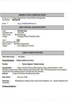 Automobile Engineering Resumes > Automobile Engineering Resumes .Docx (Word)