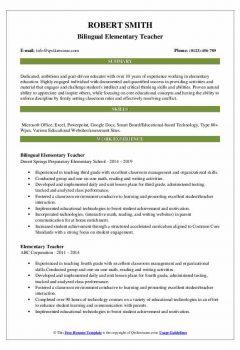 Bilingual Elementary Teacher Resume .Docx (Word)