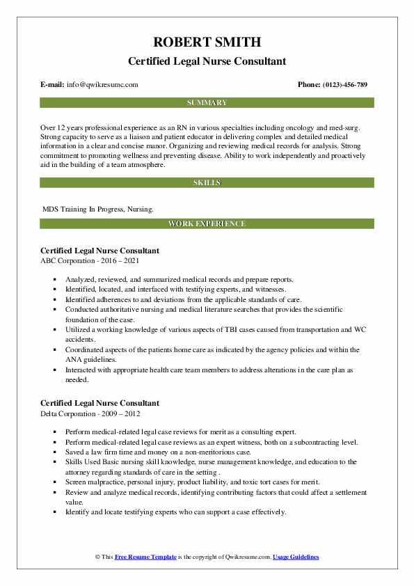 Certified Legal Nurse Consultant Resume3