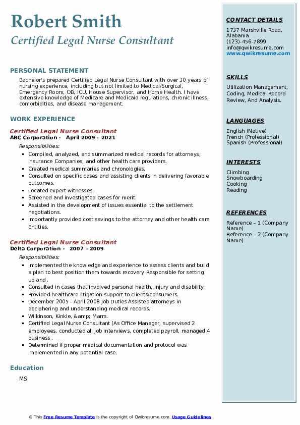 Certified Legal Nurse Consultant Resume5