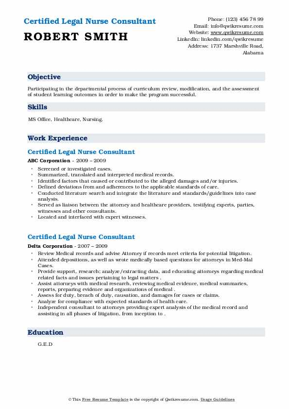 Certified Legal Nurse Consultant Resume .Docx (Word)