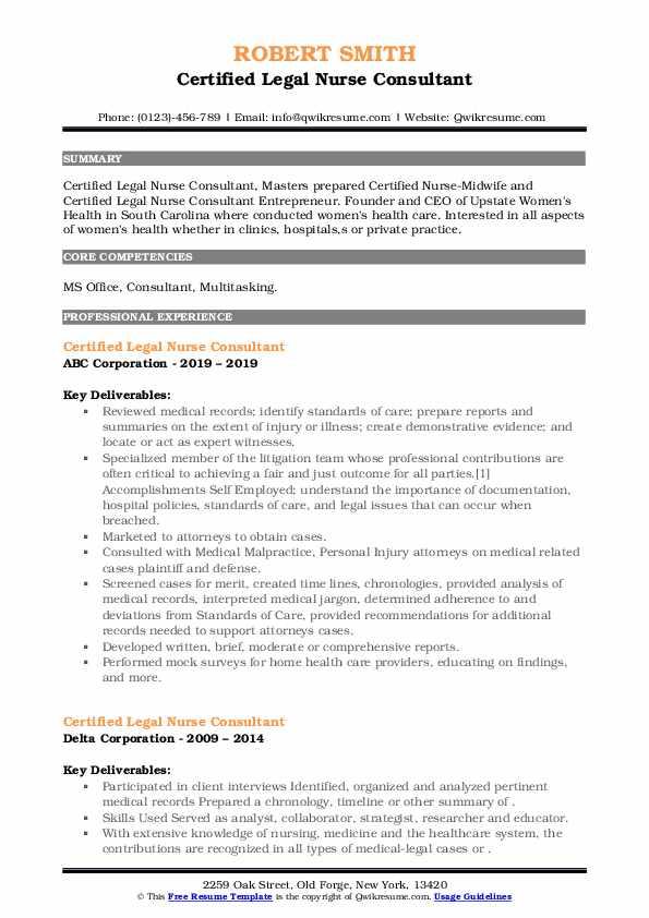Certified Legal Nurse Consultant Resume8