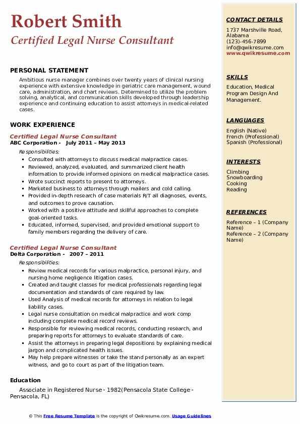 Certified Legal Nurse Consultant Resume9