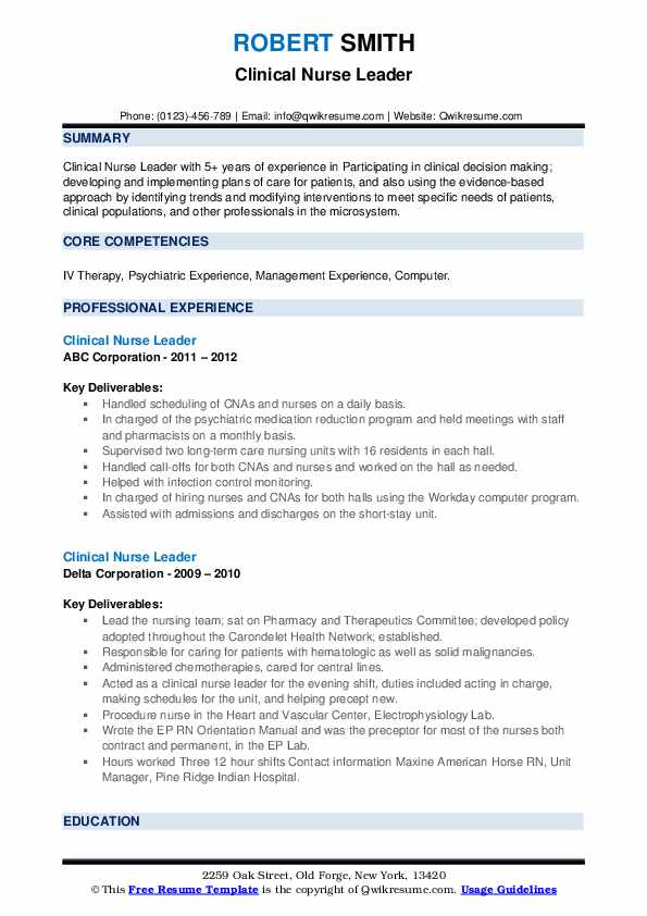 Clinical Nurse Leader Resume1