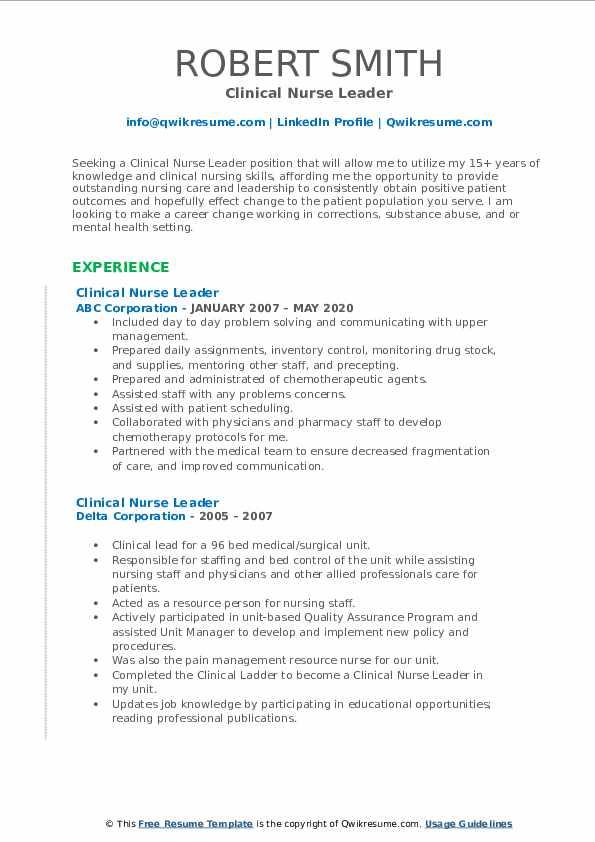 Clinical Nurse Leader Resume3