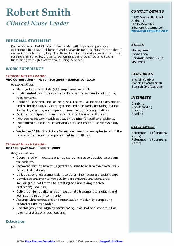Clinical Nurse Leader Resume4