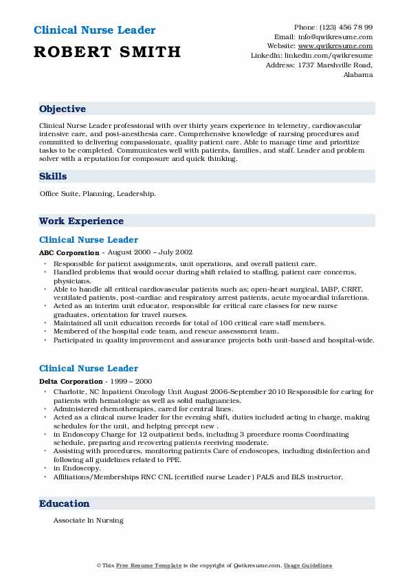 Clinical Nurse Leader Resume .Docx (Word)