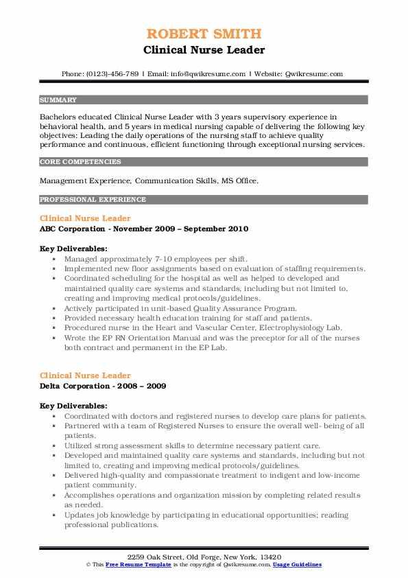 Clinical Nurse Leader Resume7