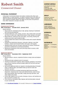 Commercial Cleaner Resume