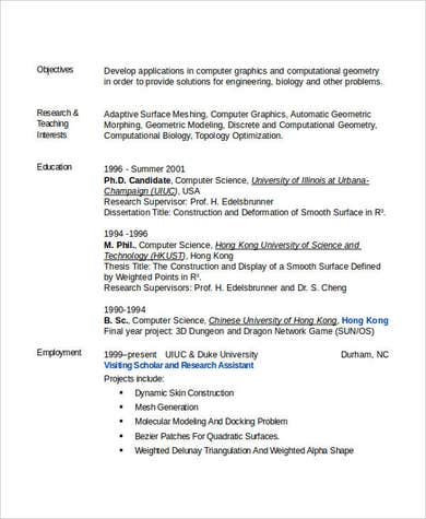 Computer Science Engineering Resume
