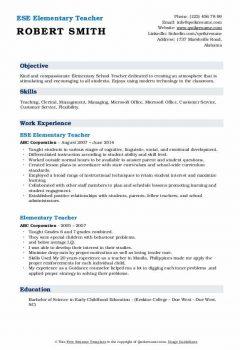 ESE Elementary Teacher Resume .Docx (Word)
