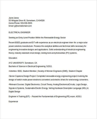 Electrical Engineering Student Resume