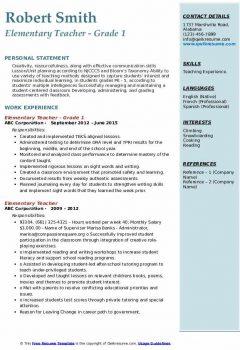 Elementary Teacher – Grade 1 Resume .Docx (Word)