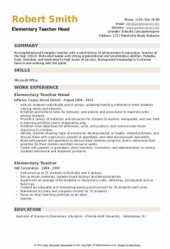 Elementary Teacher Head Resume .Docx (Word)