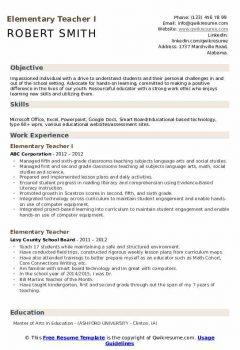 Elementary Teacher I Resume .Docx (Word)