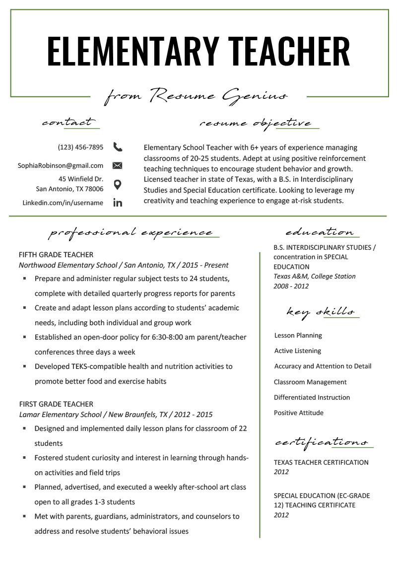 Elementary Teacher Resume Example .Docx (Word)
