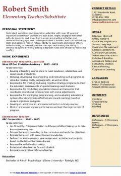 Elementary Teacher/Substitute Resume