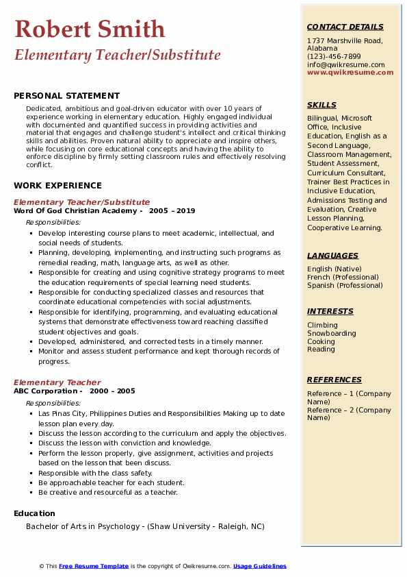 Elementary Teacher/Substitute Resume .Docx (Word)
