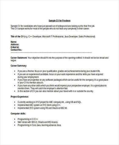 Engineering Student Fresher Resume