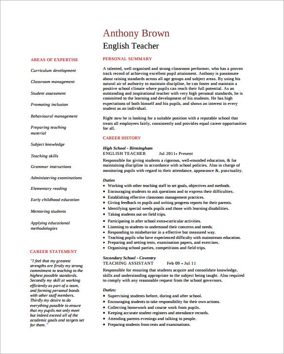 English Tutor Resume Free