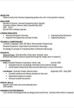 Entry Level Chemical Engineering Resume > Entry Level Chemical Engineering Resume .Docx (Word)