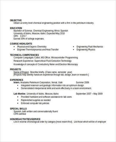 Entry Level Chemical Engineering Resume