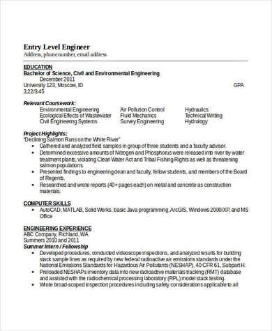 Entry Level Civil Engineering Resume