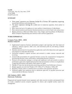 Business Analyst Skills Resume