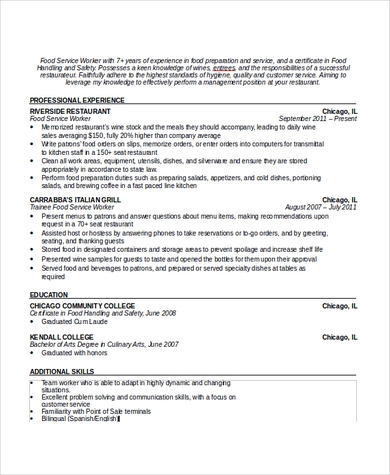 Formal Waiter Resume