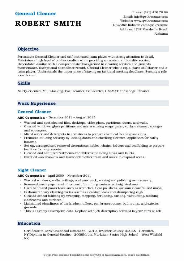 General Cleaner Resume