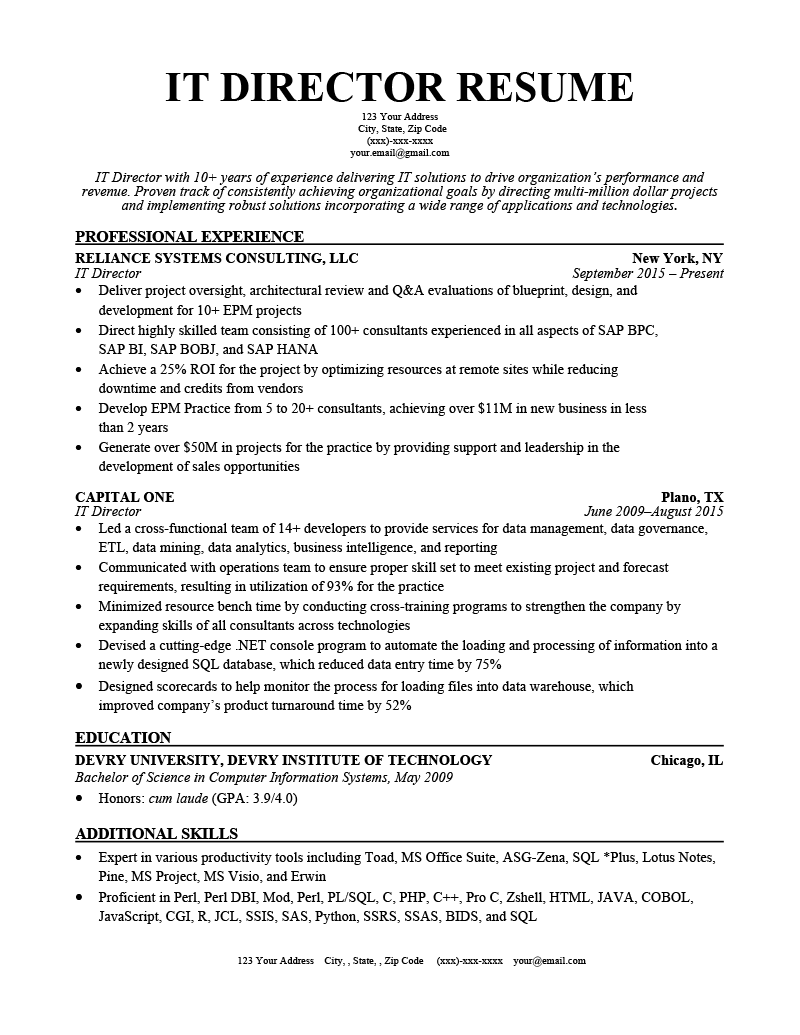 IT Director Resume