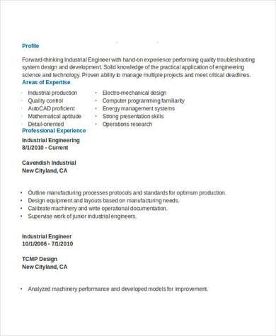 Industrial Engineering Resume Example