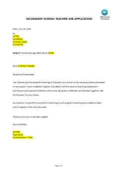 Job Application Letter For Secondary School Teacher .Docx (Word)