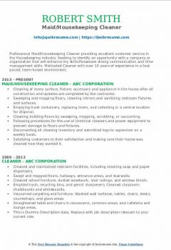 Maid/Housekeeping Cleaner Resume
