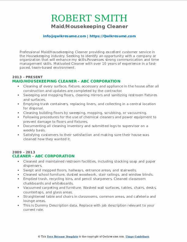 Maid/Housekeeping Cleaner Resume .Docx (Word)