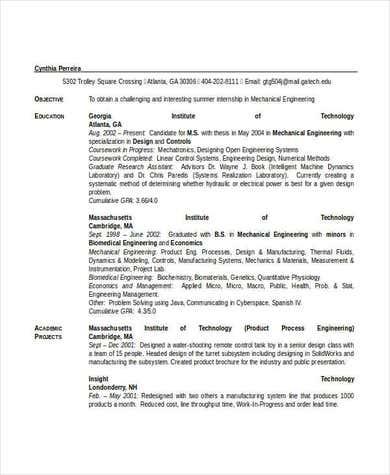 Mechanical Engineering Student Resume