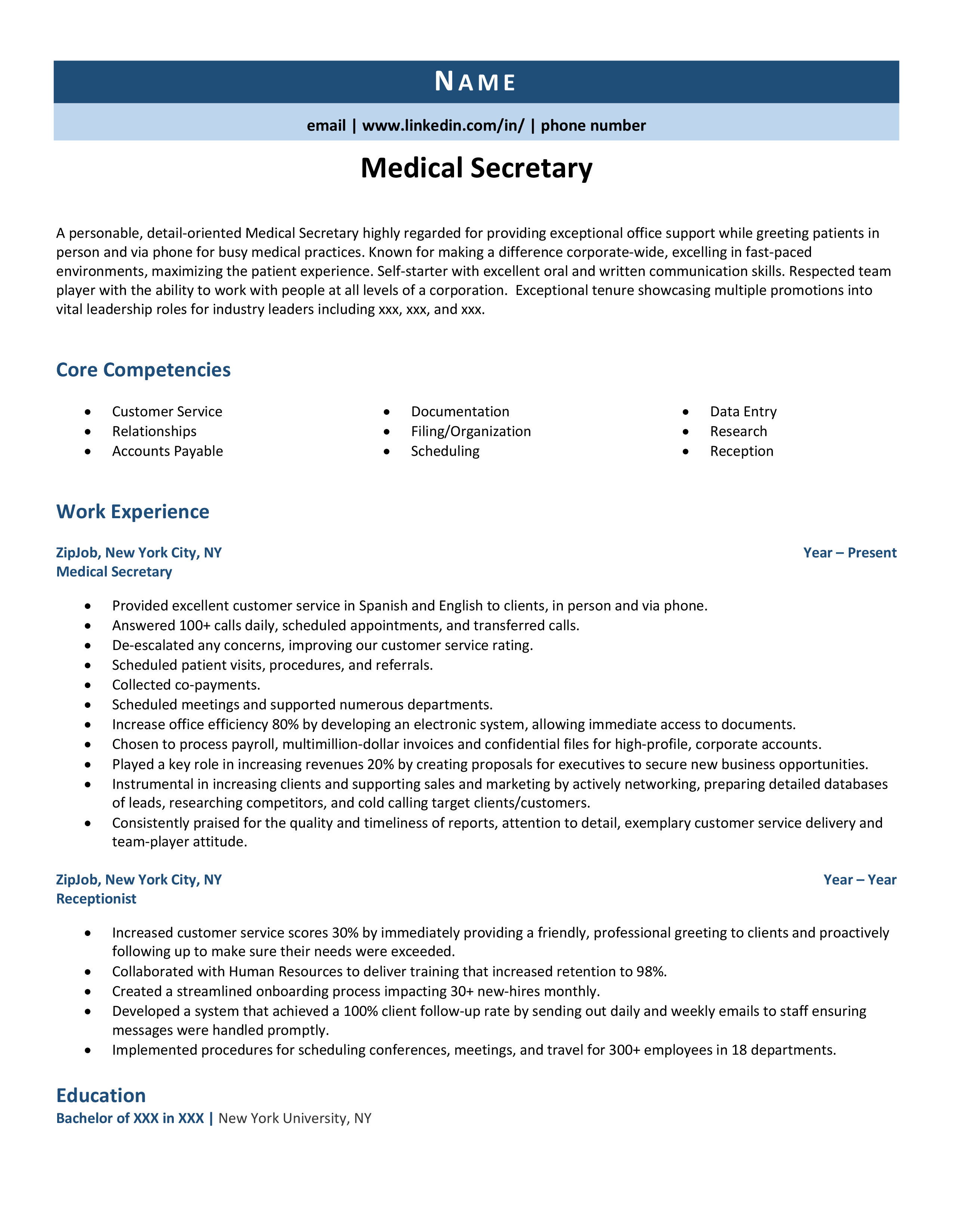 Medical Secretary Resume Example