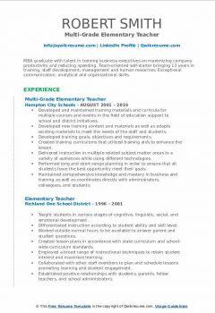 Multi-Grade Elementary Teacher Resume .Docx (Word)