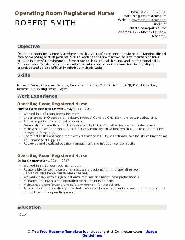 Operating Room Registered Nurse Resume