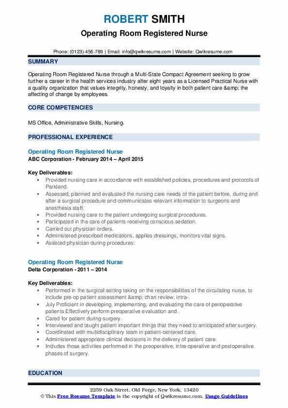 Operating Room Registered Nurse Resume1
