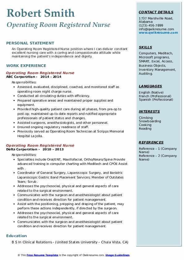 Operating Room Registered Nurse Resume4