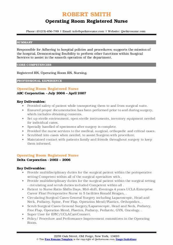 Operating Room Registered Nurse Resume7