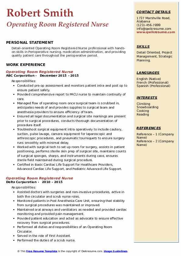 Operating Room Registered Nurse Resume8