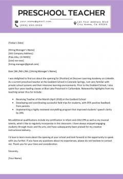 Preschool Teacher Cover Letter Example .Docx (Word)