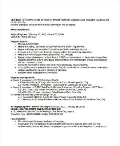 Professional Civil Engineering Resume