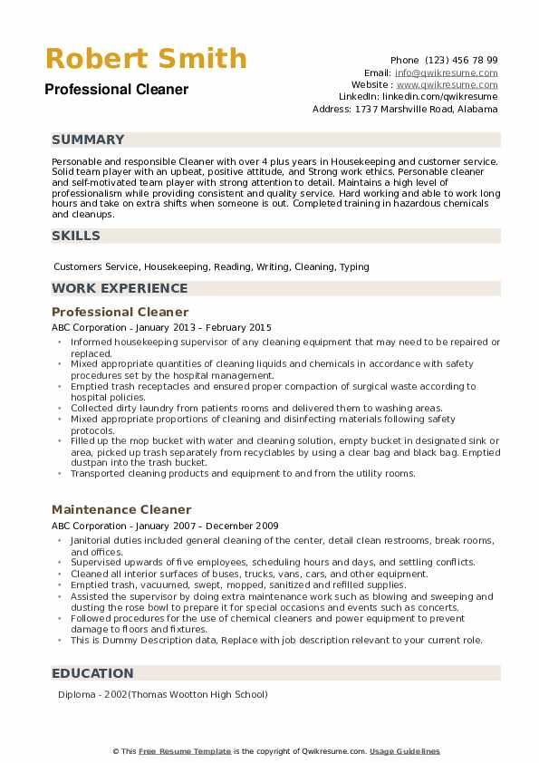 Professional Cleaner Resume .Docx (Word)