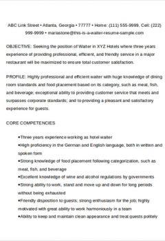 Professional Waiter Resume